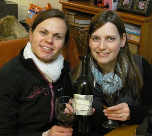 Mari and Tania with Cape To Cairo wine