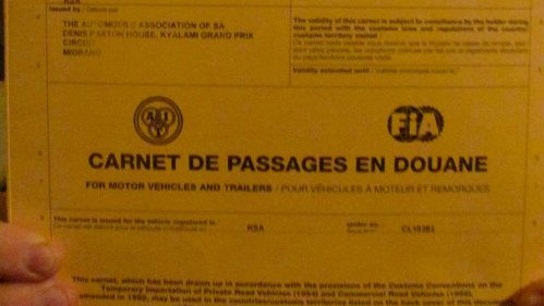 Carnet de Passages en Douane – what a mouthful!